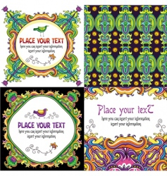 colorful floral cards set vector image vector image