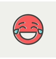 Laughing emoticon with tears of joy thin line icon vector image