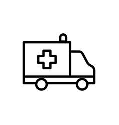 line ambulance icon on white background vector image