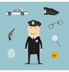 Police profession icons and symbols vector image vector image