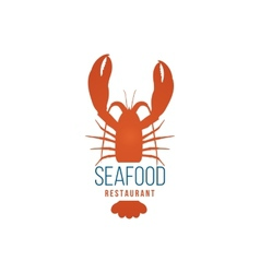 Seafood restaurant logo template with lobster vector image