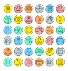 Set Flat Line Icons Internet of Things vector image