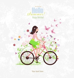 sport Invitation card with a pretty girl riding on vector image