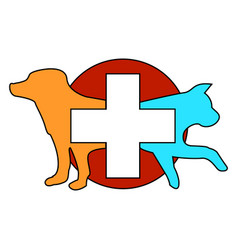 a red icon with a dog and a cat circle vector image