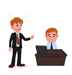 angry boss cartoon vector image vector image