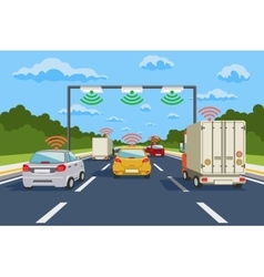Highway communication system infographics vector image vector image
