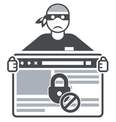 Secure website - internet swindler or hacker vector image vector image