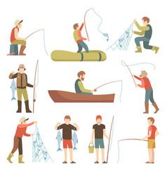 Summer fishing sport vacation flat icons vector