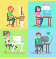 cartoon employees work at computer in office set vector image