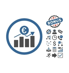 Euro Business Chart Flat Icon With Bonus vector image