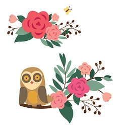 Floral compositions with owl and butterfly vector image