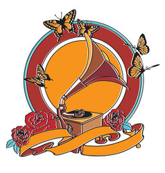 gramophone and roses badge vector image vector image