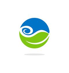 green leaf water bio ecology logo vector image