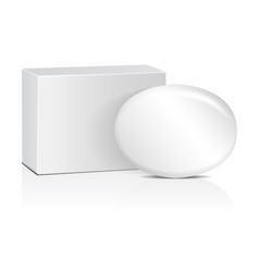Oval soap with white box realistic mockup package vector