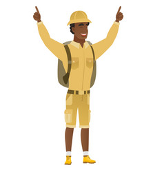 traveler standing with raised arms up vector image vector image