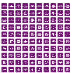 100 discussion icons set grunge purple vector image
