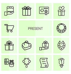 14 present icons vector image