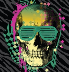 80s skull vector image