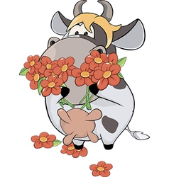 A small cow and flowers cartoon vector image