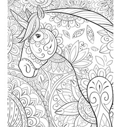 Adult coloring bookpage a cute unicorn vector