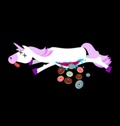Anatomy unicorn from belly intestines fell donut vector