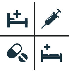 antibiotic icons set collection of polyclinic vector image