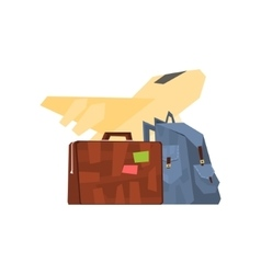 Backpack Suitcase And Plane vector
