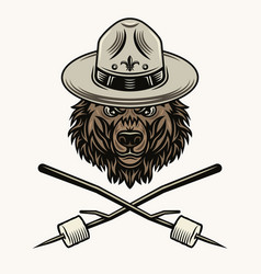 bear scout in hat and marshmallow on sticks vector image