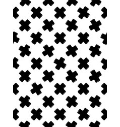 Black and white seamless pattern of crosses vector