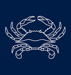 Blue crab on navy blue background vector