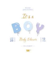 Boy baby shower cute template party invitation vector