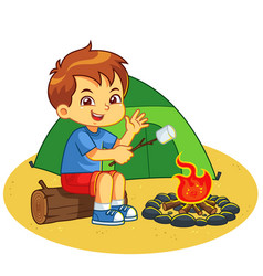 Boy making campfire and baking marshmallow vector
