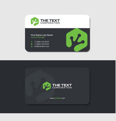 business card with toad footprint in green hexagon vector image