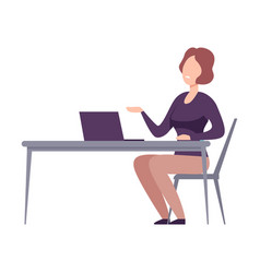 Businesswoman character sitting at desk vector
