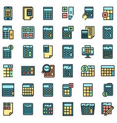 calculator icons set flat vector image