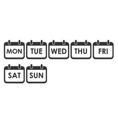 calendar day icon set week day icon set vector image