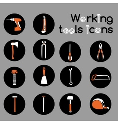 Carpenter Working Tools Icons Set vector image