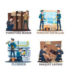 Carpenters plumbers and furniture makers vector