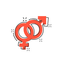 Cartoon gender icon in comic style men and women vector