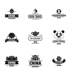 China logo set simple style vector