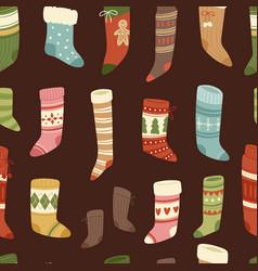 christmas socks santa xmas new year gift vector image