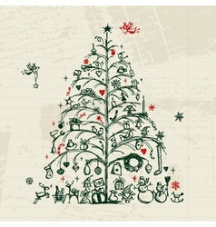 Christmas tree sketch for your design vector image