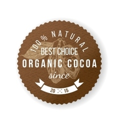 cocoa round label with type design vector image