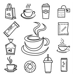 Coffee icon set with accessories and ingredient vector