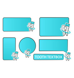 collection of tooth doctor and textbox for vector image