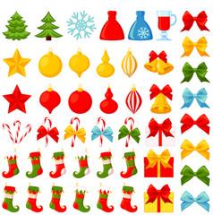 colorful cartoon 46 christmas elements set vector image