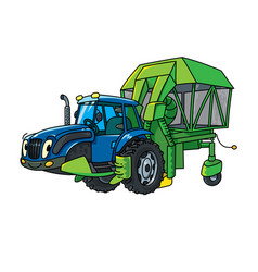Cotton harvester or cotton combine with eyes vector