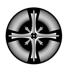 Cross in circle shape vector