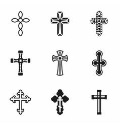 Crosses icon set vector image
