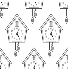 Cuckoo clock Black and white seamless pattern vector